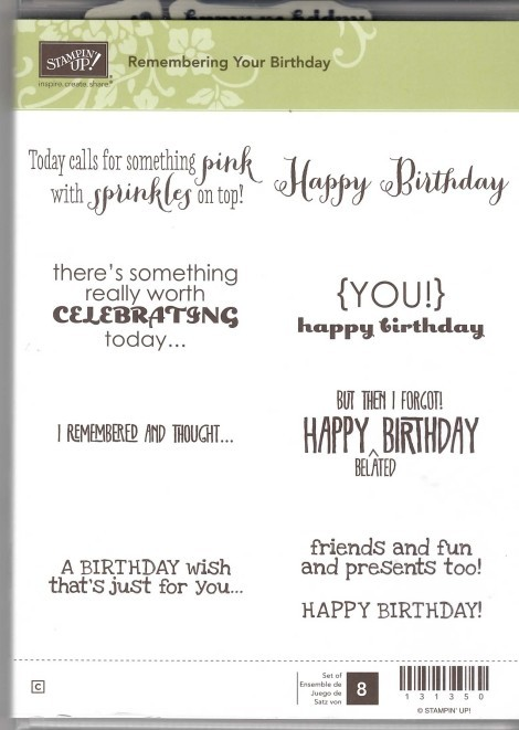 Retired Stampin' Up! Remembering Your Birthday Stamp Set