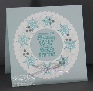 Stamping Gear Snowflake Wreath 300x293 The easy way to make wreaths for handmade Christmas cards