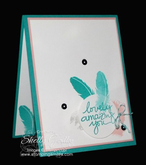 Handmade card made with Stampin' Up! Lovely Amazing You Stamp Set www.stampingsmiles.com