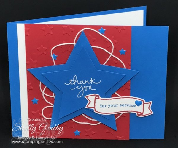Hand stamped patriotic card with Stampin' Up! Endless Thanks Stamp Set. Stampin' Up! Endless Thanks card designed by Shelly Godby of www.stampingsmiles.com