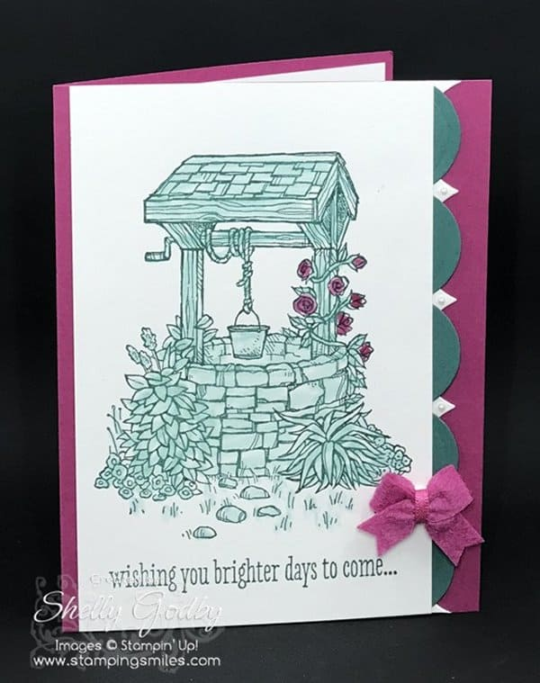 Stampin' Up! Bright Wishes card made with Stampin' Up! Bright Wishes Stamp Set. Bright Wishes card designed by Shelly Godby of www.stampingsmiles.com