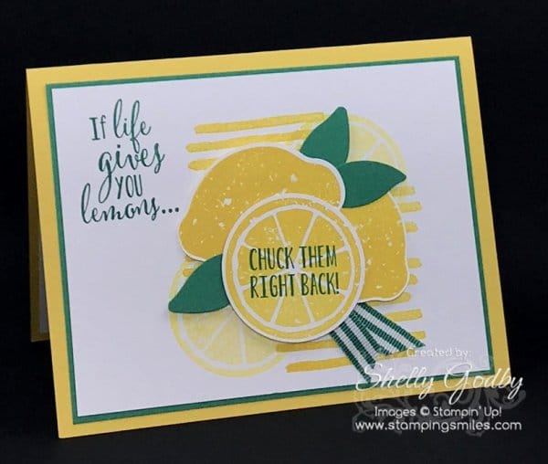 Clean and simple Stampin' Up! Lemon Zest card designed by Shelly Godby of www.stampingsmiles.com with the Stampin' Up! Lemon Zes Stamp Set, Lemon Builder Punch and Playful Backgrounds Stamp Set