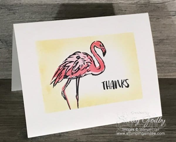 Clean and simple Stampin' Up! Fabulous Flamingo card made with the Stampin' Up! Fabulous Flamingo Stamp Set designed by Shelly Godby of www.stampingsmiles.com