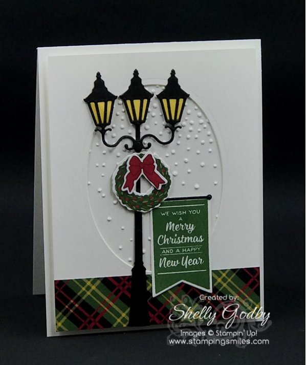 Nostalgic Christmas card designed by Shelly Godby of www.stampingsmiles.com with Stampin' Up! Brightly Lit Christmas Stamp Set