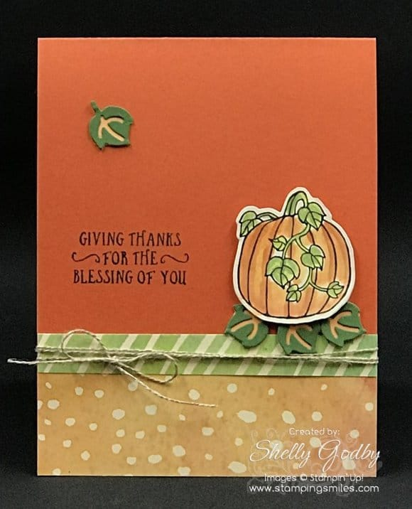 Cute Thanksgiving card made with Stampin' Up! Seasonal Chums Stamp Set. Stampin' Up! Seasonal Chums card designed by Shelly Godby of www.stampingsmiles.com