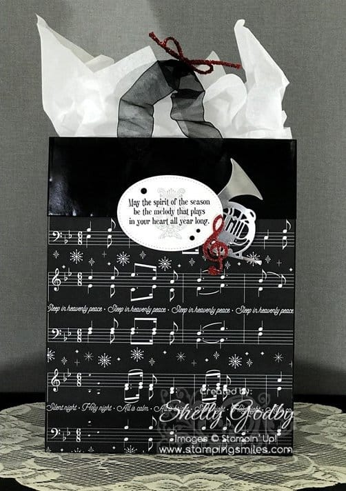Stampin' Up! Musical Season Stamp Set used to make a Stampin' Up! Musical Season gift bag designed by Shelly Godby of www.stampingsmiles.com