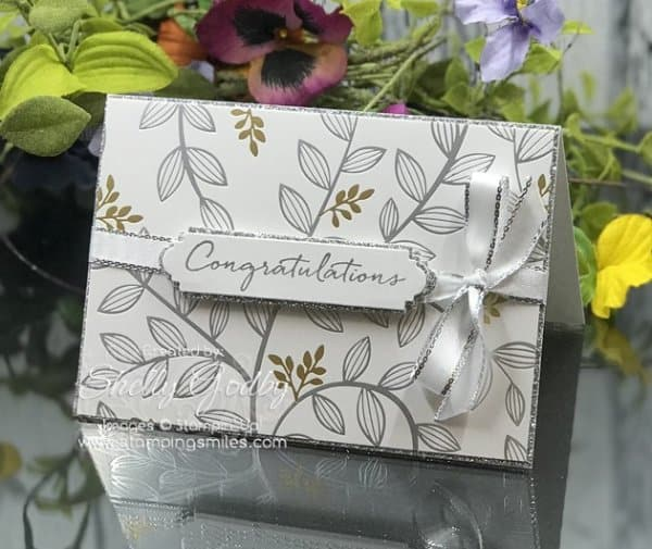 Make silver congratulations card with Stampin' Up! Springtime Foils Specialty Designer Series Paper.