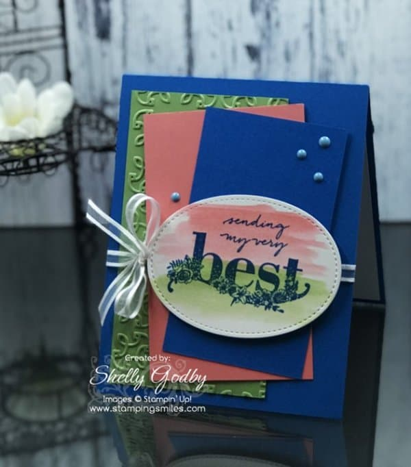 Stampin' Up! Happy Wishes card designed by Shelly Godby of www.stampingsmiles.com with 2018 Stampin' Up! Sale-a-bration Happy Wishes Stamp Set