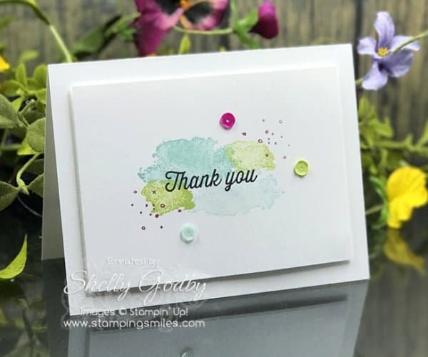Quick and easy to make abstract art card with Stampin' Up! Eclectic Expressions Stamp Set. Clean and simple Stampin' Up! Eclectic Expressions card designed by Shelly Godby of www.stampingsmiles.com for 2018 Stampin' Up! Sale-a-bration special