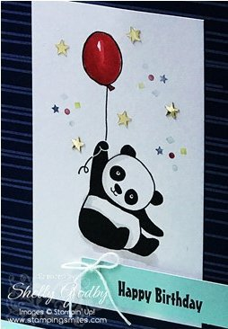 Stampin' Up! Party Pandas birthday card with Stampin' Up! Color Me Happy Project Kit designed by Shelly Godby of www.stampingsmiles.com with Stampin' Up! Party Pandas Stamp Set