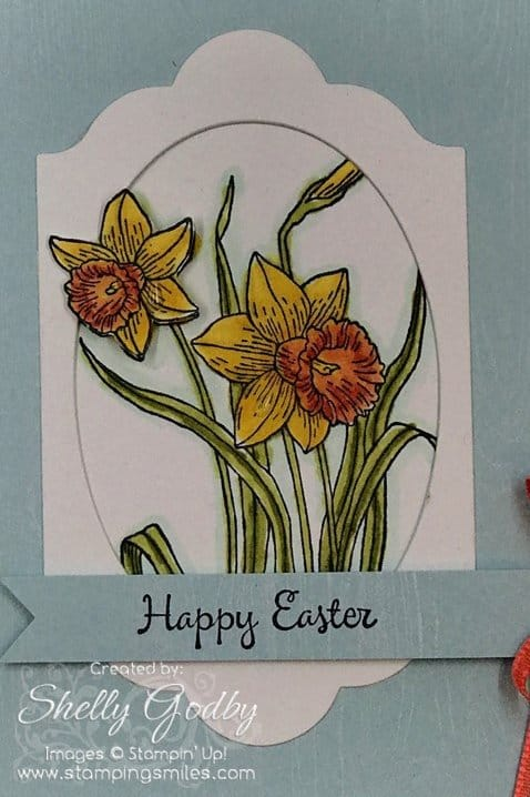 Hand made Easter card idea made with Stampin' Up! You're Inspiring Stamp Set. Stampin' Up! You're Inspiring card designed by Shelly Godby of www.stampingsmiles.com. Use to make handmade greeting cards.