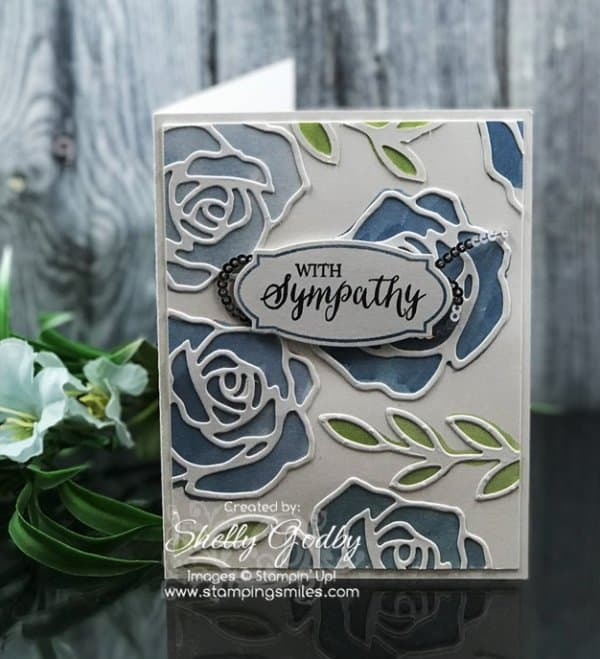 Stampin' Up! Rose Wonder card by Shelly Godby of www.stampingsmiles.com with Stampin' Up! Rose Wonder Stamp Set for a sympathy card with roses