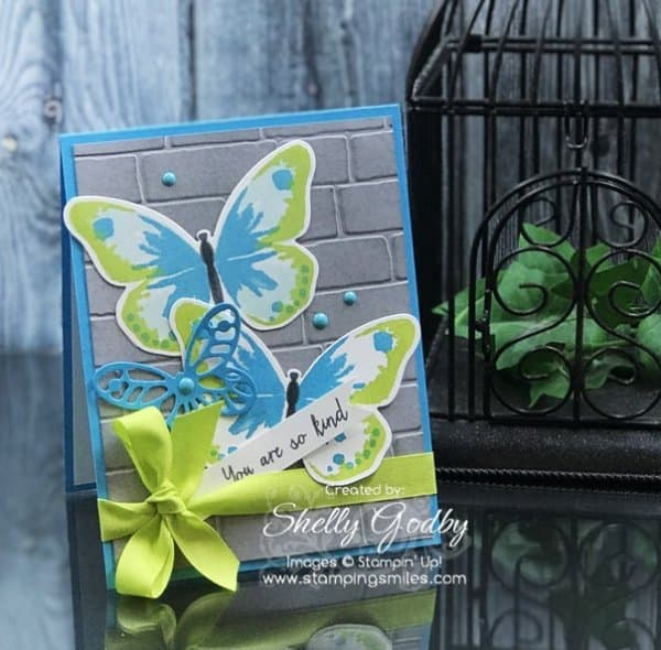 Stampin' Up! Watercolor Wings card designed by Shelly Godby of www.stampingsmiles.com with Stampin' Up! Watercolor Wings Stamp Set