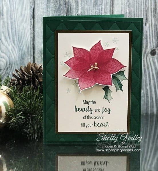 Easy and Elegant Stampin' Up! Stylish Christmas card designed by Shelly Godby of www.stampingsmiles.com with the Stampin' Up! Stylish Christmas Stamp Set.