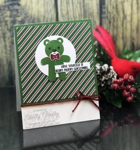 Handmade Christmas card with a teddy bear designed by Shelly Godby of www.stampingsmiles.com with Stampin' Up! Cookie Cutter Christmas Stamp Set, Cookie Cutter Builder Punch and Stampin' Up! Dashing Along Designer Series Paper