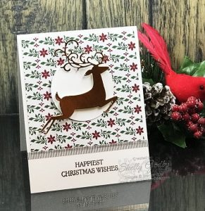 Stampin' Up! Dashing Deer card designed by Shelly Godby of www.stampingsmiles.com with Stampin' Up! Dashing Deer Stamp Set, Stampin' Up! Dashing Along Designer Series Paper and Stampin' Up! Detailed Deer Thnilits Dies