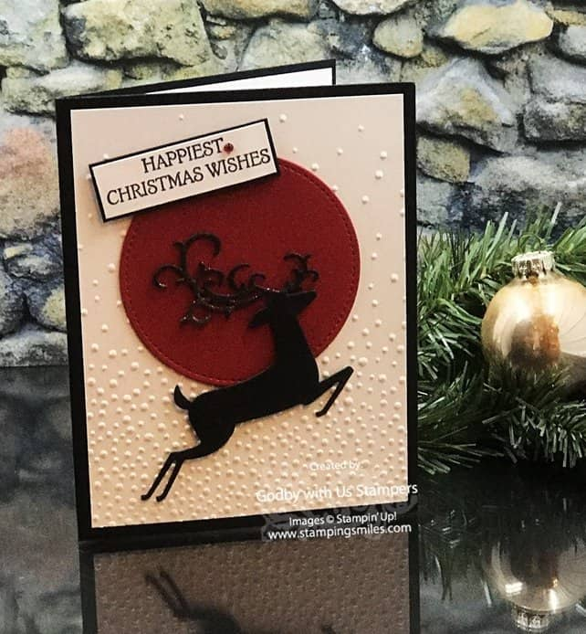 Stampin' Up! Dashing Deer Stamp Set for our 2018 Stampin' Up! Holiday Catalog Cards team swap.