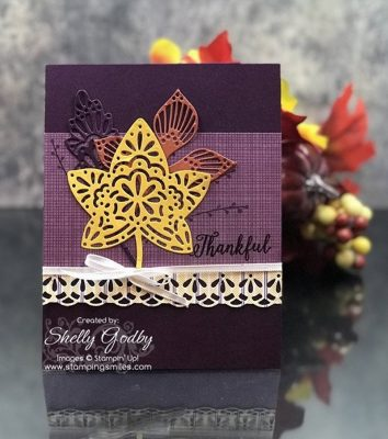 Large leaves on fall card idea designed by Shelly Godby of www.stampingsmiles.com with Stampin' Up! Falling for Leaves Stamp Set and Detailed Leaves Thinlits Dies
