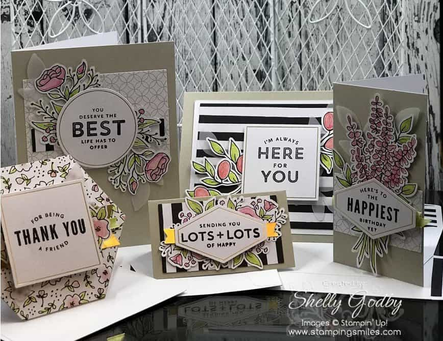 Stampin' Up! Lots of Happy Card Kit cards made by Shelly Godby of www.stampingsmiles.com
