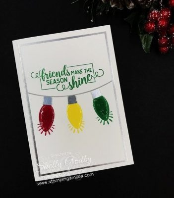 Clean & Simple Stampin' Up! Making Christmas Bright Card designed by Shelly Godby of www.stampingsmiles.com with Stampin' Up! Making Christmas Bright Stamp Set and Stampin' Up! Christmas Bulb Builder Punch