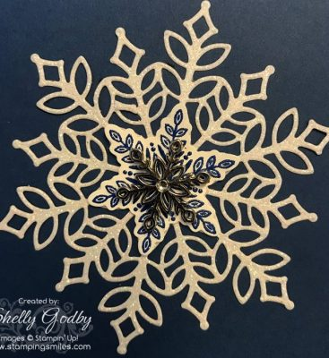 Statmpin' Up! Snow is Glistening card designed by Shelly Godby of www.stampingsmiles.com with Stampin' Up! Snow is Glistening Stamp Set and Stampin' Up! Snowfall Thinlits Dies