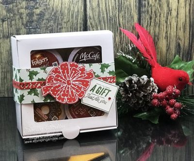 Easy and affordable homemade Christmas gifts for coffee lovers designed by Shelly Godby of www.stampingsmiles.com with Stampin' Up! Bring on the Presents Stamp Set and Stampin' Up! All the Presents Thinlits Dies