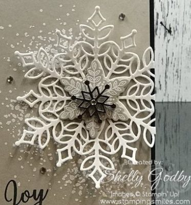 Snowflake Christmas card with Stampin' Up! Snow is Glistening Stamp Set and Stampin' Up! Snowfall Thinlits Dies designed by Shelly Godby of www.stampingsmiles.com