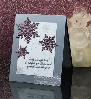 Stampin' Up! Snow is Glistening with Glitter Snowflakes card designed by Shelly Godby of www.stampingsmiles.com with Stampin' Up! Snow is Glistening Stamp Set and Stampin' Up! Snowfall Thinlits Dies.