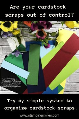 My simple system to organize cardstock scraps demonstrated by Shelly Godby of www.stampingsmiles.com