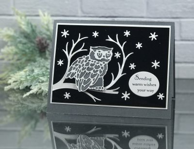 Handmade masculine birthday card idea designed by Shelly Godby of www.stampingsmiles.com with the retiring Stampin' Up! Still Night Stamp Set and Night Owl Thinlits Dies