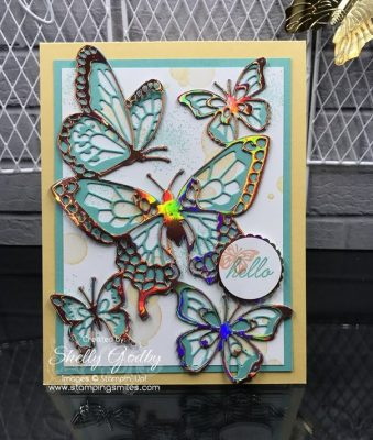 Handmade butterflies card. Stampin' Up! Beauty Abounds card designed by Shelly Godby of www.stampingsmiles.com with the Stampin' Up! Beauty Abounds Stamp Set and Stampin' Up! Butterfly Beauty Thinlits Dies