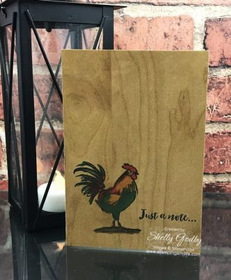 Very simple handmade rooster card idea designed by Shelly Godby of www.stampingsmiles.com with the limited-edition Stampin' Up! Home to Roost Stamp Set.