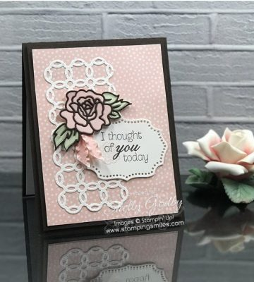 Stampin' Up! Climbing Roses card idea for rose lovers designed by Shelly Godby of www.stampingsmiles.com with Stampin' Up! Climbing Roses Stamp Set and Stampin' Up! Rose Trellis Thinlits Dies