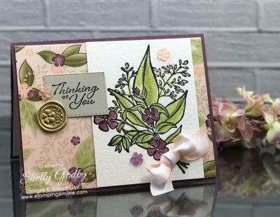 Make watercolor cards with the Stampin' Up! Wonderful Romance Stamp Set like this card designed by Shelly Godby of www.stampingsmiles.com