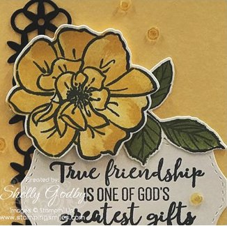 Handmade yellow rose card designed by Shelly Godby of www.stampingsmiles.com with the Stampin' Up! To a Wild Rose Stamp Set
