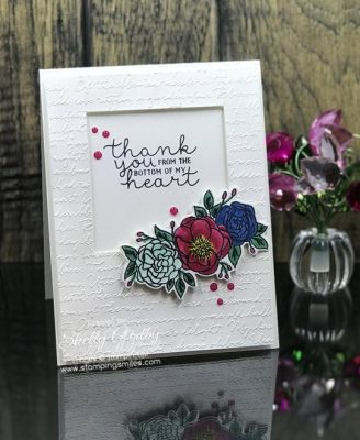 Bold and beautiful floral card made designed by Shelly Godby of www.stampingsmiles.com with the Stampin' Up! Bloom & Grow Stamp Set