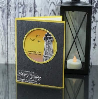 Handmade lighthouse card designed by Shelly Godby of www.stampingsmiles.com with the Stampin' Up! Sailing Home Stamp Set