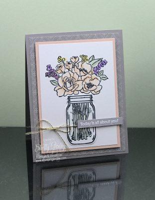 Feminine handmade birthday card with Stampin Up Jar of Flowers Stamp Set
