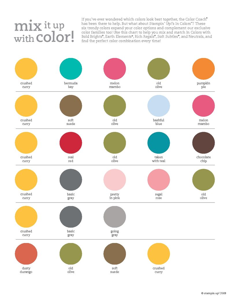 Stampin Up In Color Combinations Chart Stamping Smiles - Trendy color combinations
