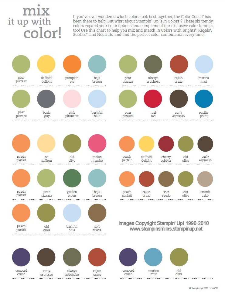Stampin Up Color Combinations Chart - Trendy color combinations